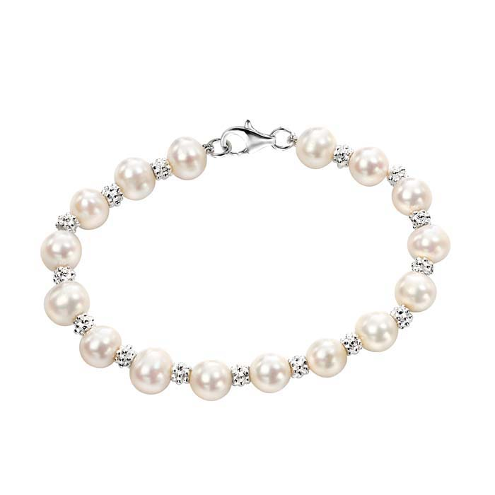 Sterling Silver White Freshwater Pearl Textured Bracelet