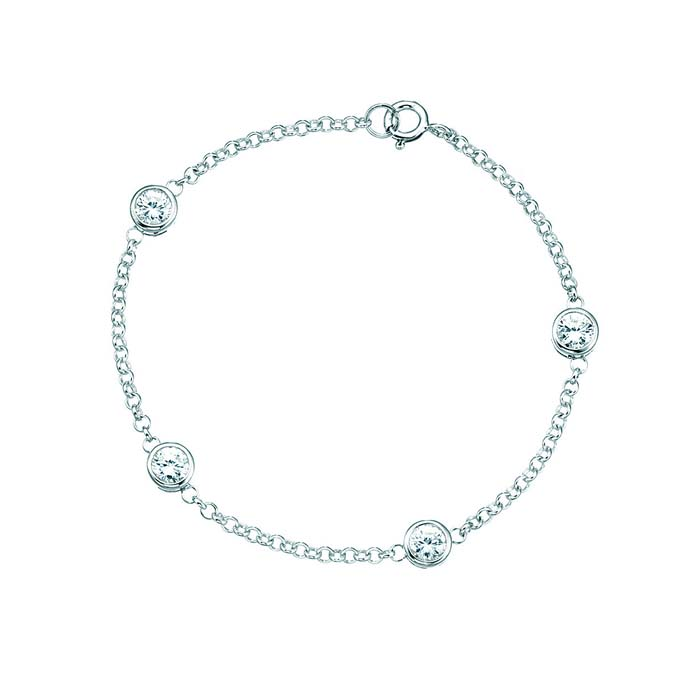 Sterling Silver Clear Cubic Zirconia Roll Over Bracelet