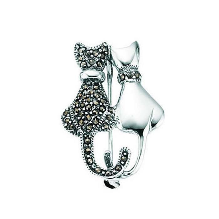 Sterling Silver Marcasite And Plain Double Cat Brooch