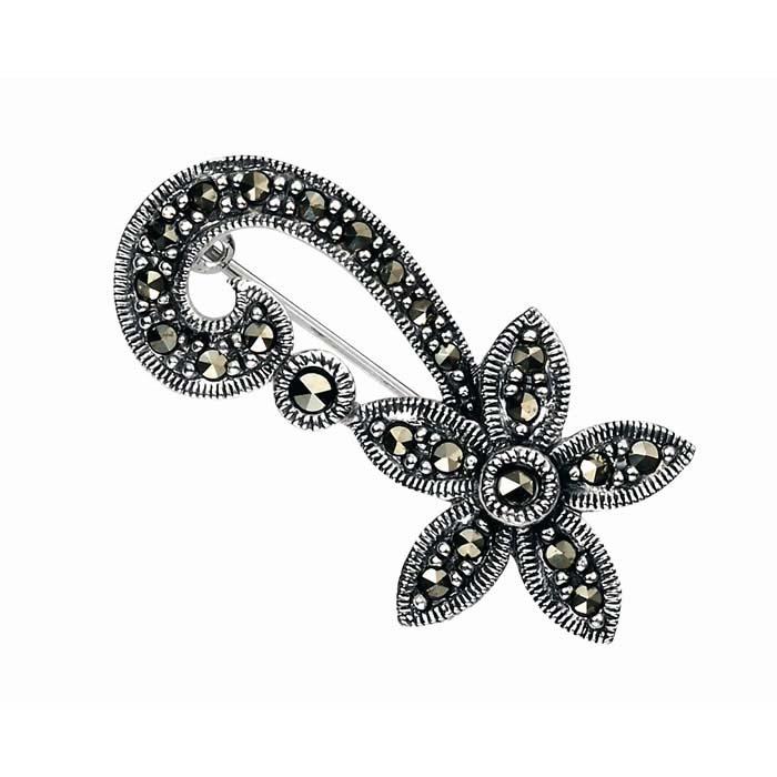 Sterling Silver Marcasite Flower Swirl Brooch