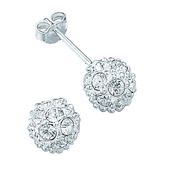 Sterling Silver Glitter Ball Stud Earrings