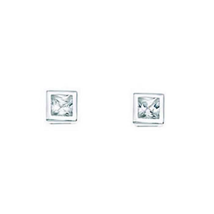 Sterling Silver Square Crystal Stud Earrings
