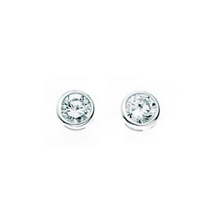 Sterling Silver Clear Cubic Zirconia Round Stud Earrings