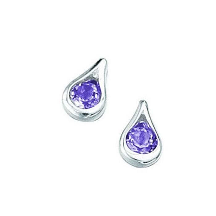 sterling silver amethyst teardrop stud earrings