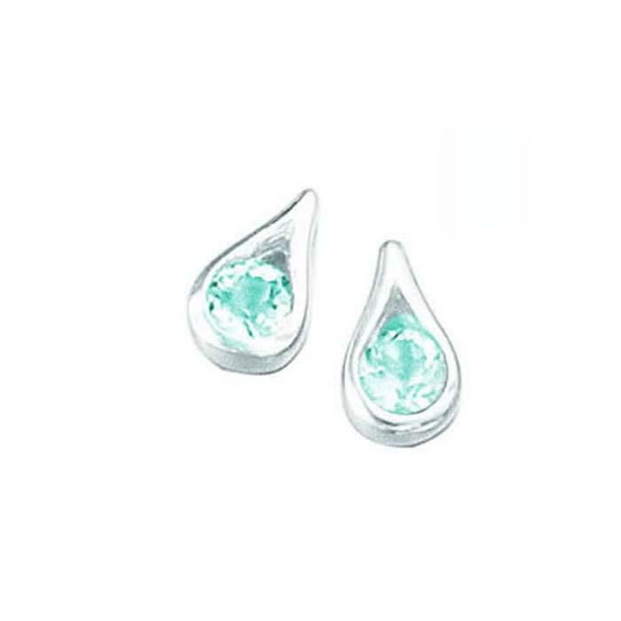sterling silver blue topaz teardrop stud earrings