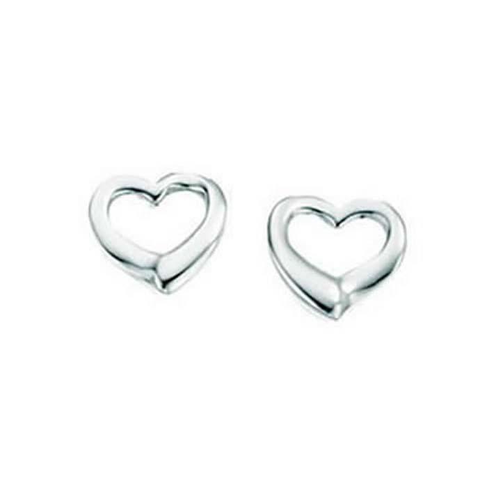Sterling Silver Small Open Heart Stud Earrings