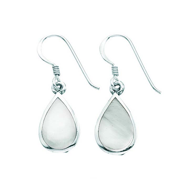 Sterling Silver White Mother Of Pearl Teardrop Earrings