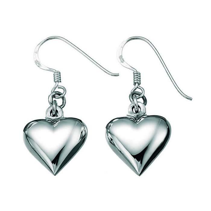 Sterling Silver Small Puffed Heart Drop Earrings
