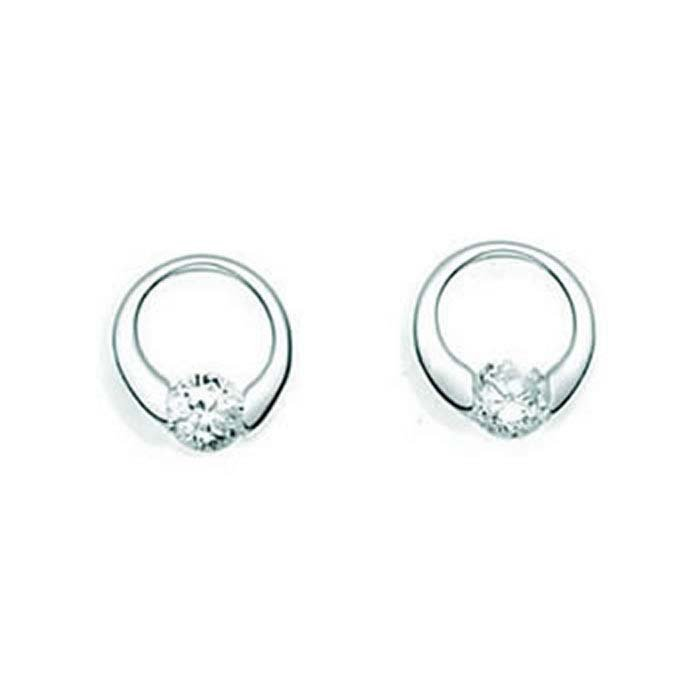 Sterling Silver Clear Cubic Zirconia Open Disc Stud Earrings