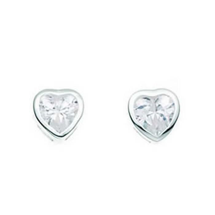 Sterling Silver Clear Cubic Zirconia Heart Stud Earrings