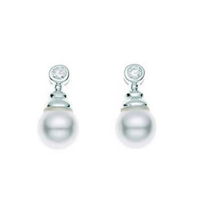 Sterling Silver White Synthetic Pearl And Clear Cubic Zirconia Drop Earrings