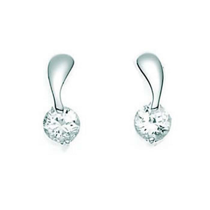 Sterling Silver Clear Cubic Zirconia Twist Stud Earrings