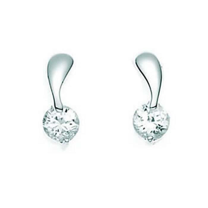 Sterling Silver Clear Cubic Zirconia Twist Stud Earrings