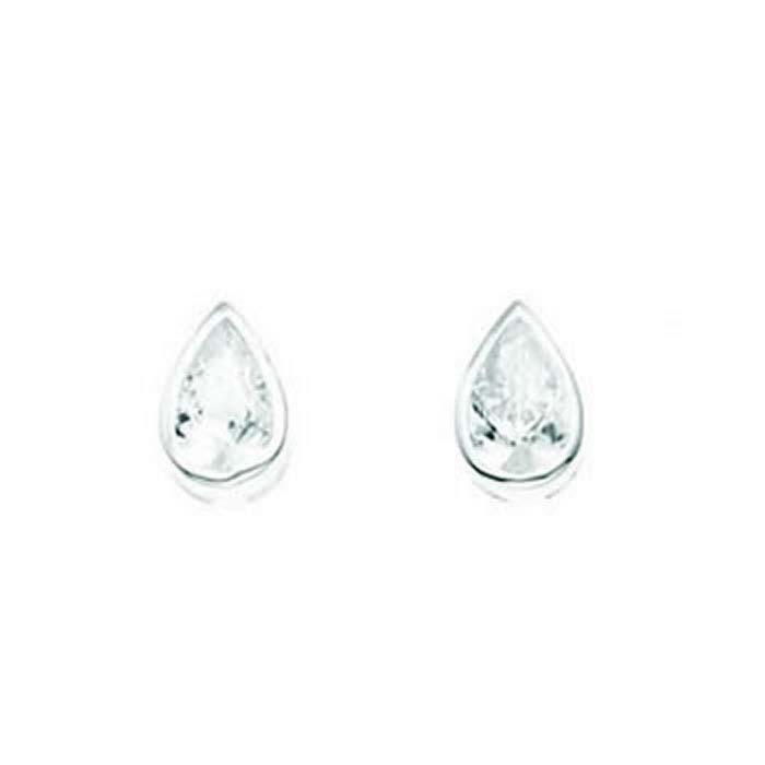 Sterling Silver Clear Cubic Zirconia Teardrop Stud Earrings