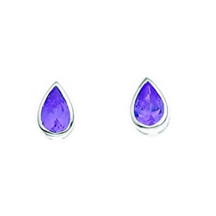 Sterling Silver Amethyst Cubic Zirconia Teardrop Stud Earrings
