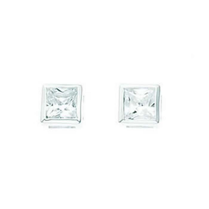 Sterling Silver Clear Cubic Zirconia Square Bordered Stud Earrings