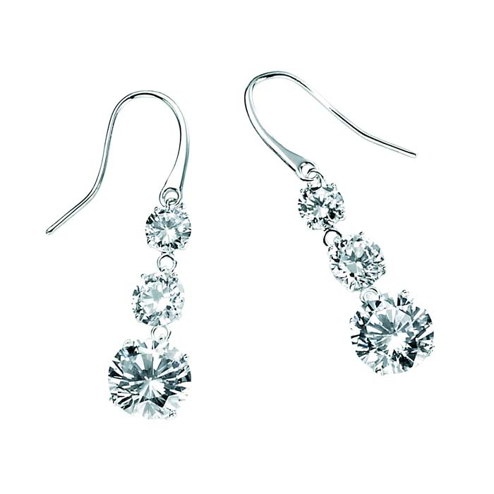 Sterling Silver Cubic Zirconia Triple Drop Earrings