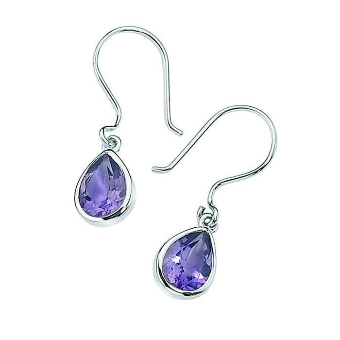 Sterling Silver Amethyst Teardrop Style Earrings