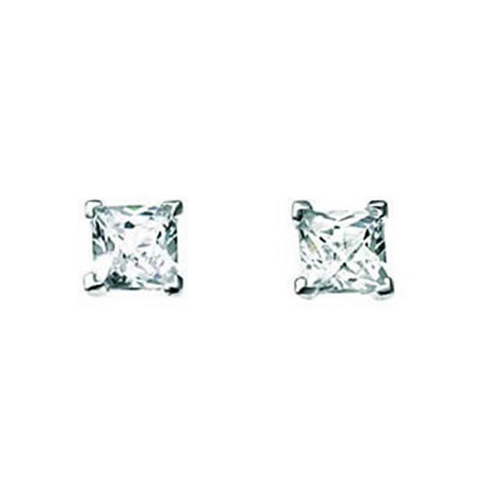 Sterling Silver Clear Cubic Zirconia Square Chequerboard Stud Earrings