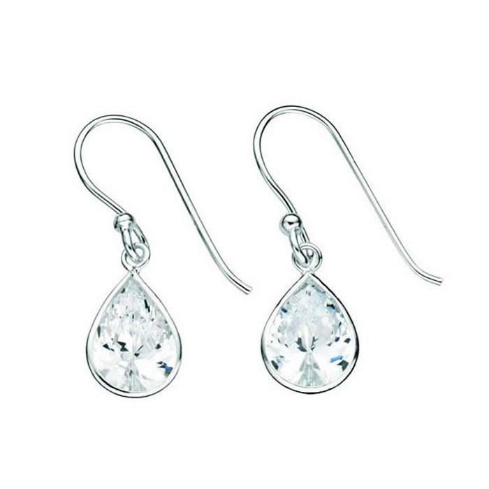 Sterling Silver Clear Cubic Zirconia Teardrop Drop Earrings
