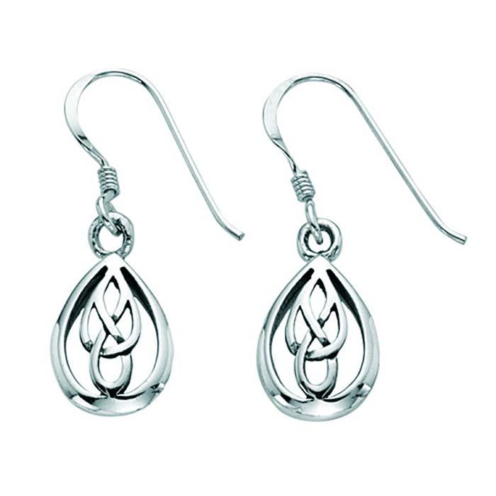 Sterling Silver Celtic Teardrop Earrings