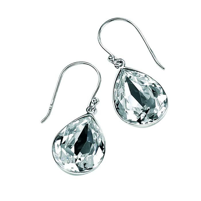 Sterling Silver Clear Swarovski Crystal Teardrop Earrings
