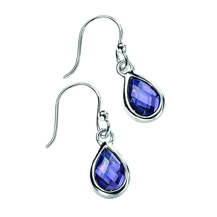 Sterling Silver Amethyst Cubic Zirconia Faceted Teardrop Earrings