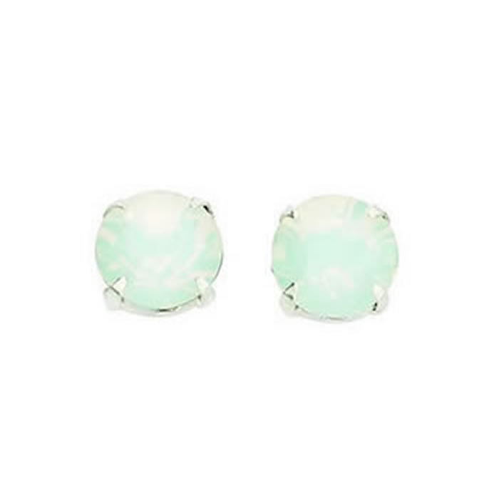 Sterling Silver White Opal Swarovski Crystal Stud Earrings