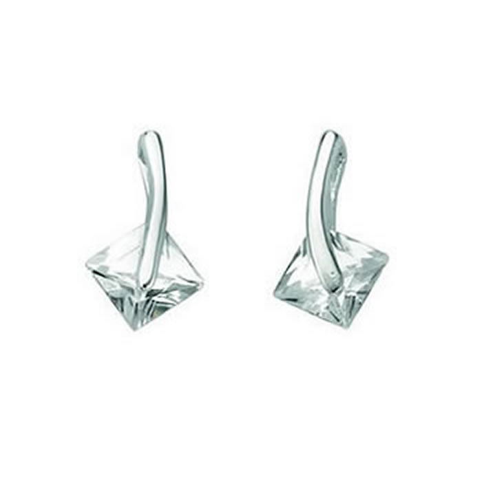 Sterling Silver Clear Cubic Zirconia Square Drop Stud Earrings