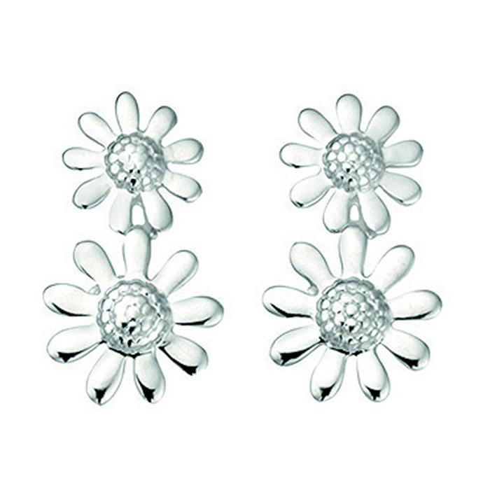 Sterling Silver Double Flower Stud Earrings