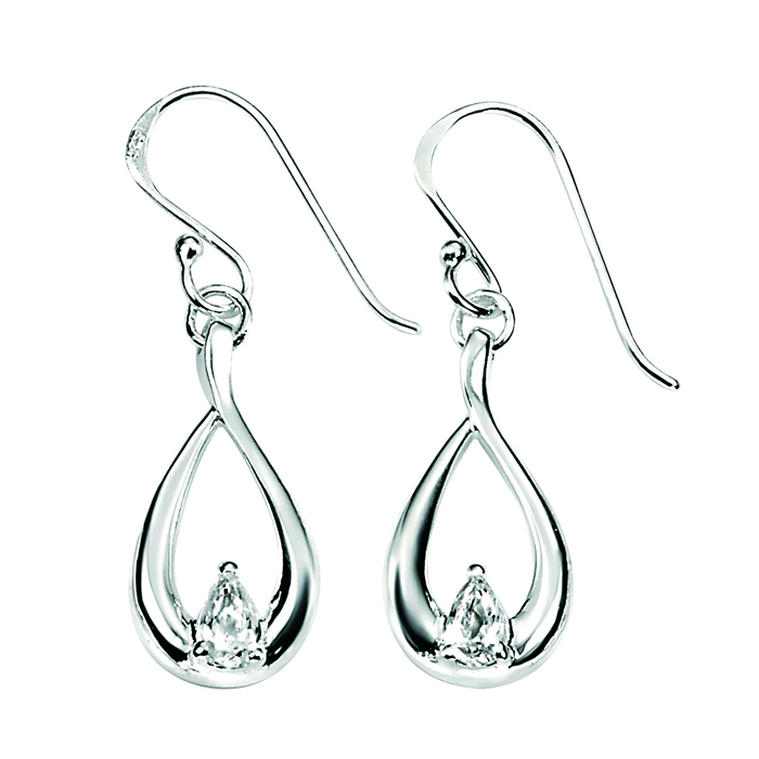 Sterling Silver Clear Cubic Zirconia Simple Teardrop Earrings