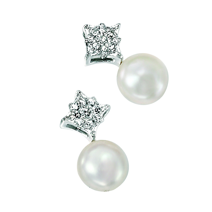 Sterling Silver White Freshwater Pearl And Cubic Zirconia Pave Diamond Shape Earrings