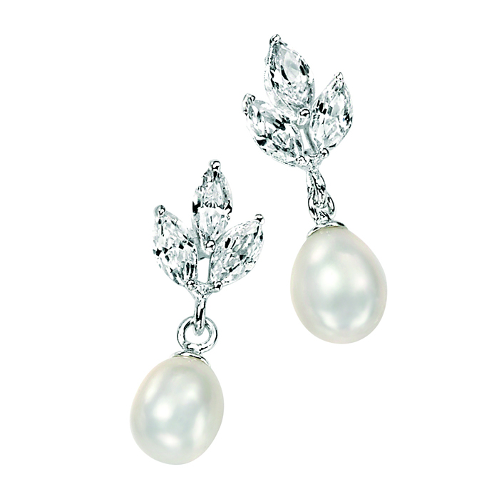 Sterling Silver White Freshwater Pearl And Clear Cubic Zirconia Marquise Earrings
