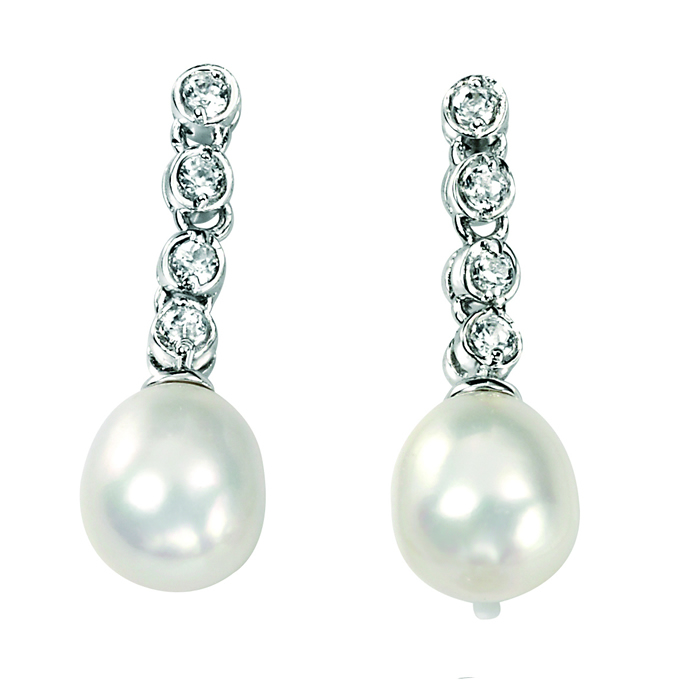 Sterling Silver Freshwater Pearl And Clear Cubic Zirconia Drop Earrings