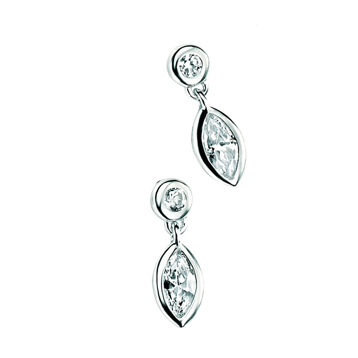 Sterling Silver Cubic Zirconia Round And Marquise Earrings