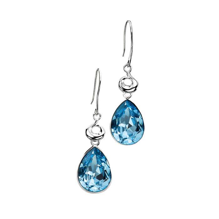 Sterling Silver Aqua Crystal Teardrop Earrings