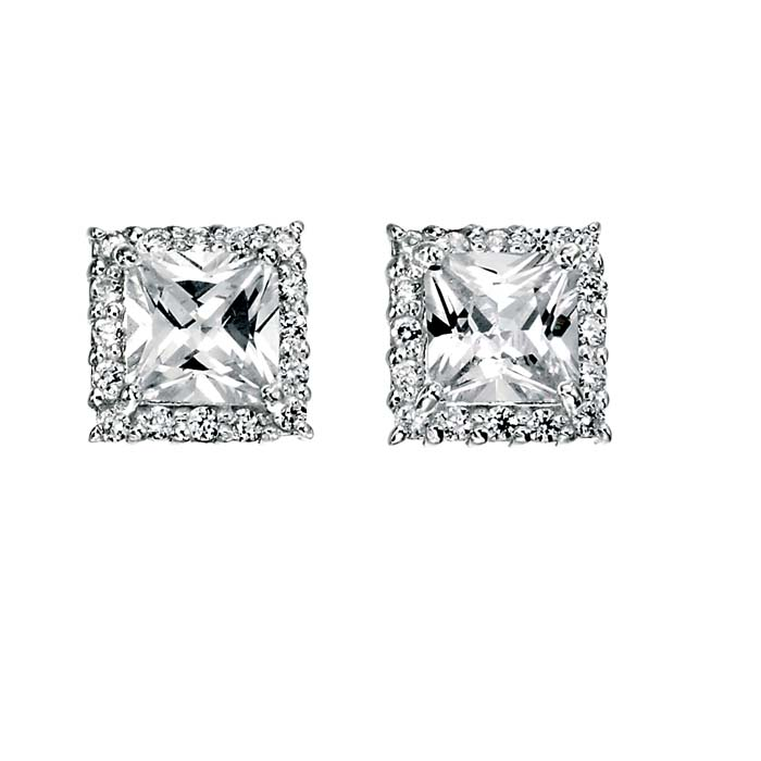 Sterling Silver Clear Cubic Zirconia Square Stud Style Earrings