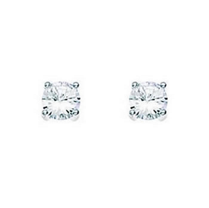 Sterling Silver Clear Cubic Zirconia Medium Round Stud Earrings