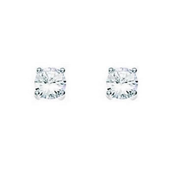 Sterling Silver Clear Cubic Zirconia Medium Round Stud Earrings
