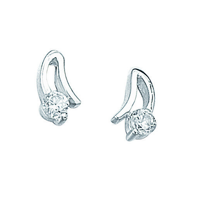 Sterling Silver Cubic Zirconia Open Setting Stud Earrings