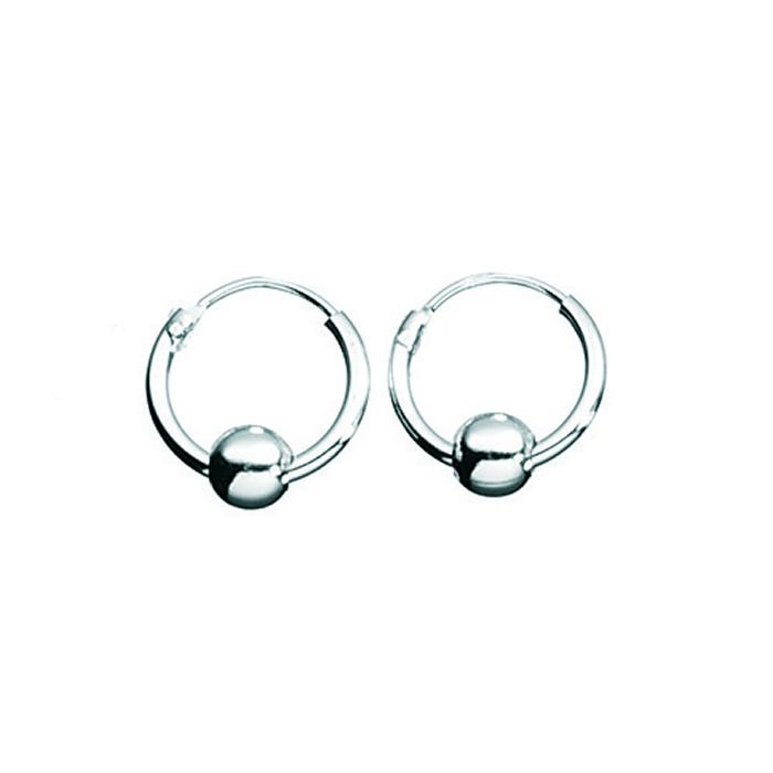 Sterling Silver Hoop With Ball Earrings