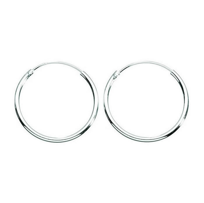 Sterling Silver Plain Medium Thickness Hoop Earrings