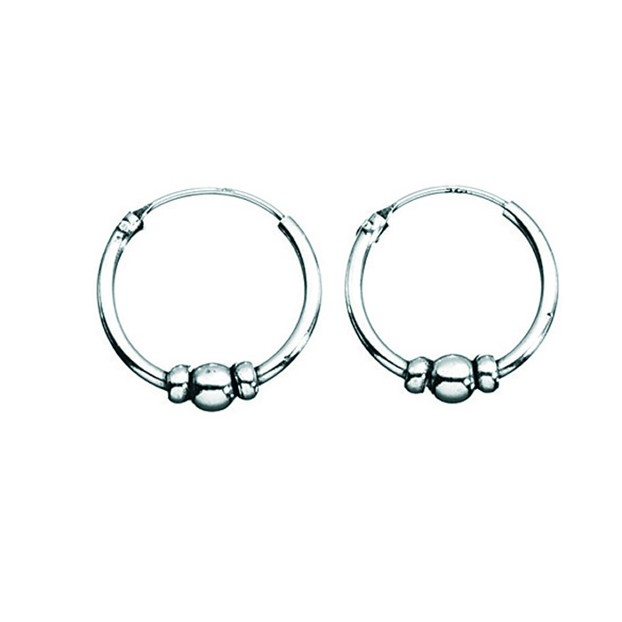 Sterling Silver Three Ball Hoop Earrings