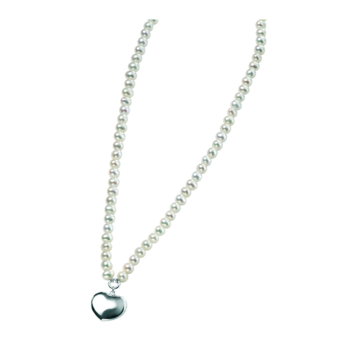 Sterling Silver White Freshwater Pearl Puff Heart Necklace