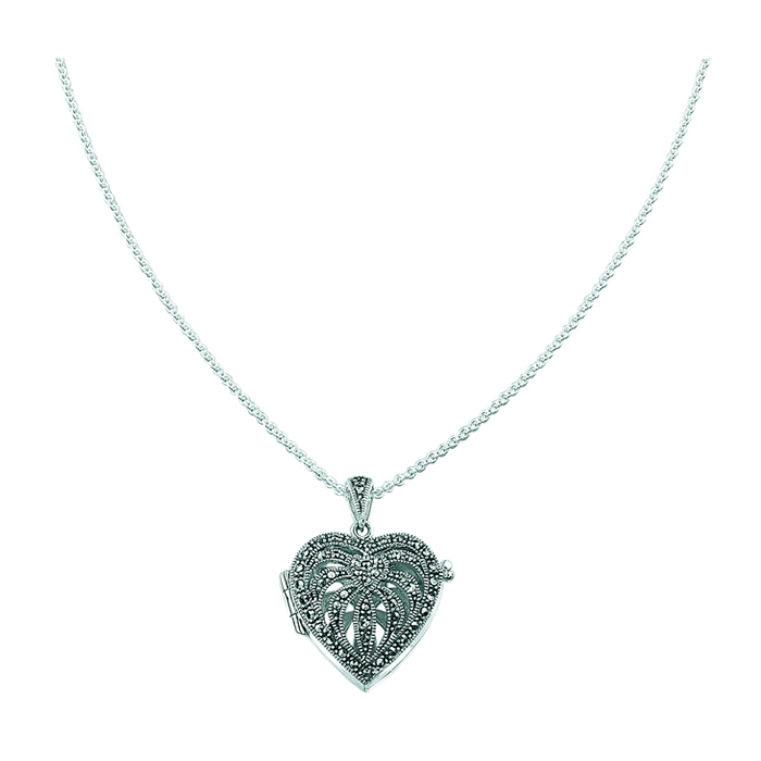 Sterling Silver Marcasite Heart Locket Style Pendant
