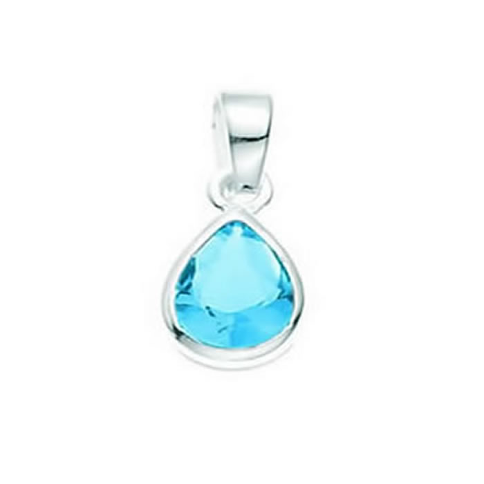 Sterling Silver Light Blue Glass Teardrop Pendant