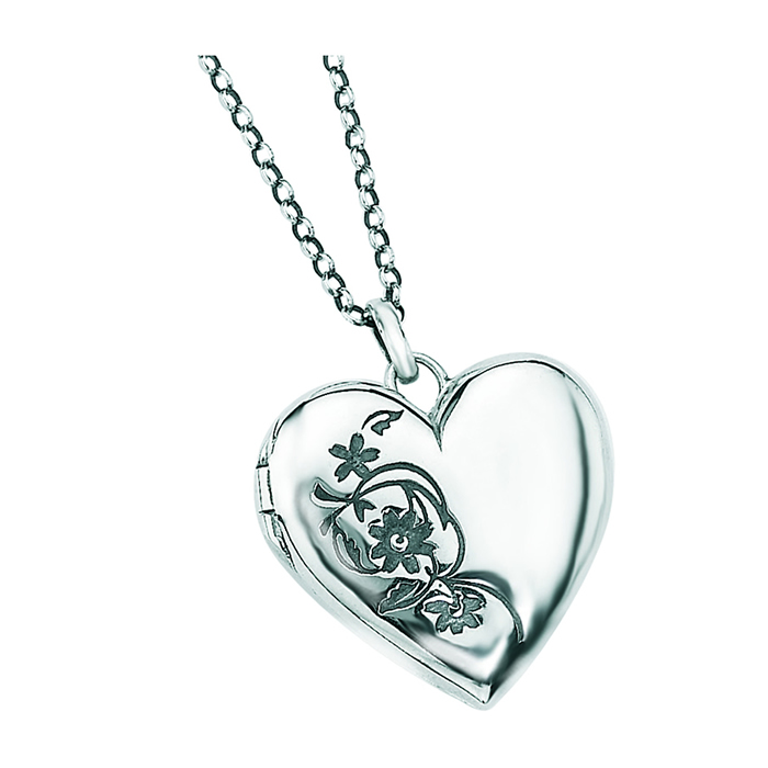 Sterling silver locket pendants silvergroves sterling silver engraved heart locket pendant aloadofball Gallery