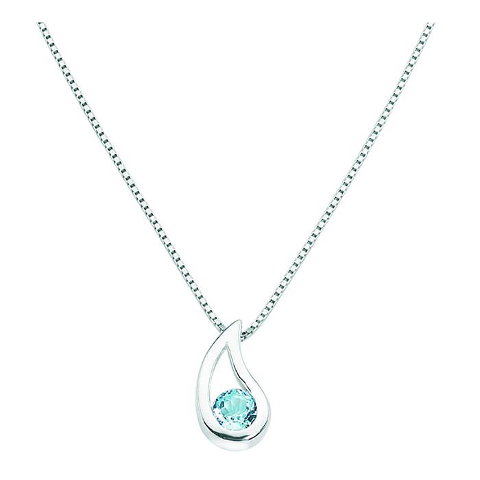 Sterling Silver Blue Topaz Teardrop Style Pendant