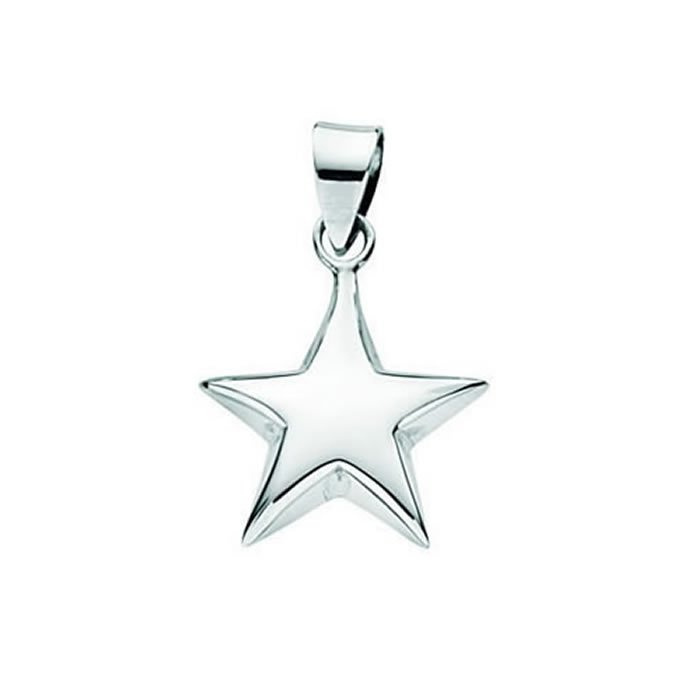 Sterling Silver Small Puffed Star Pendant