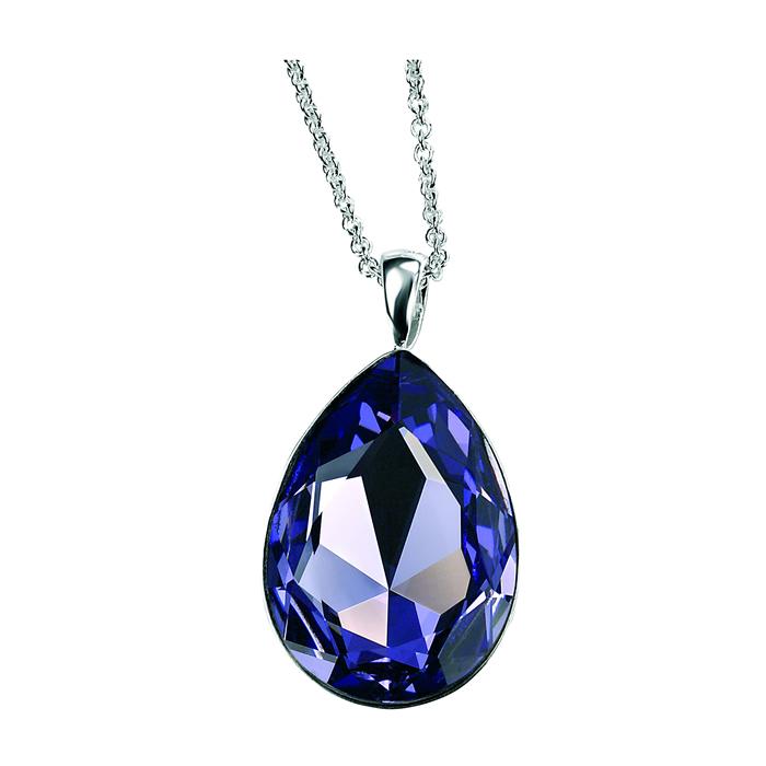 Teardrop Tanzanite: Sterling Silver Tanzanite Swarovski Crystal Teardrop Pendant